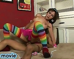 Shemale in Rainbow knee highs